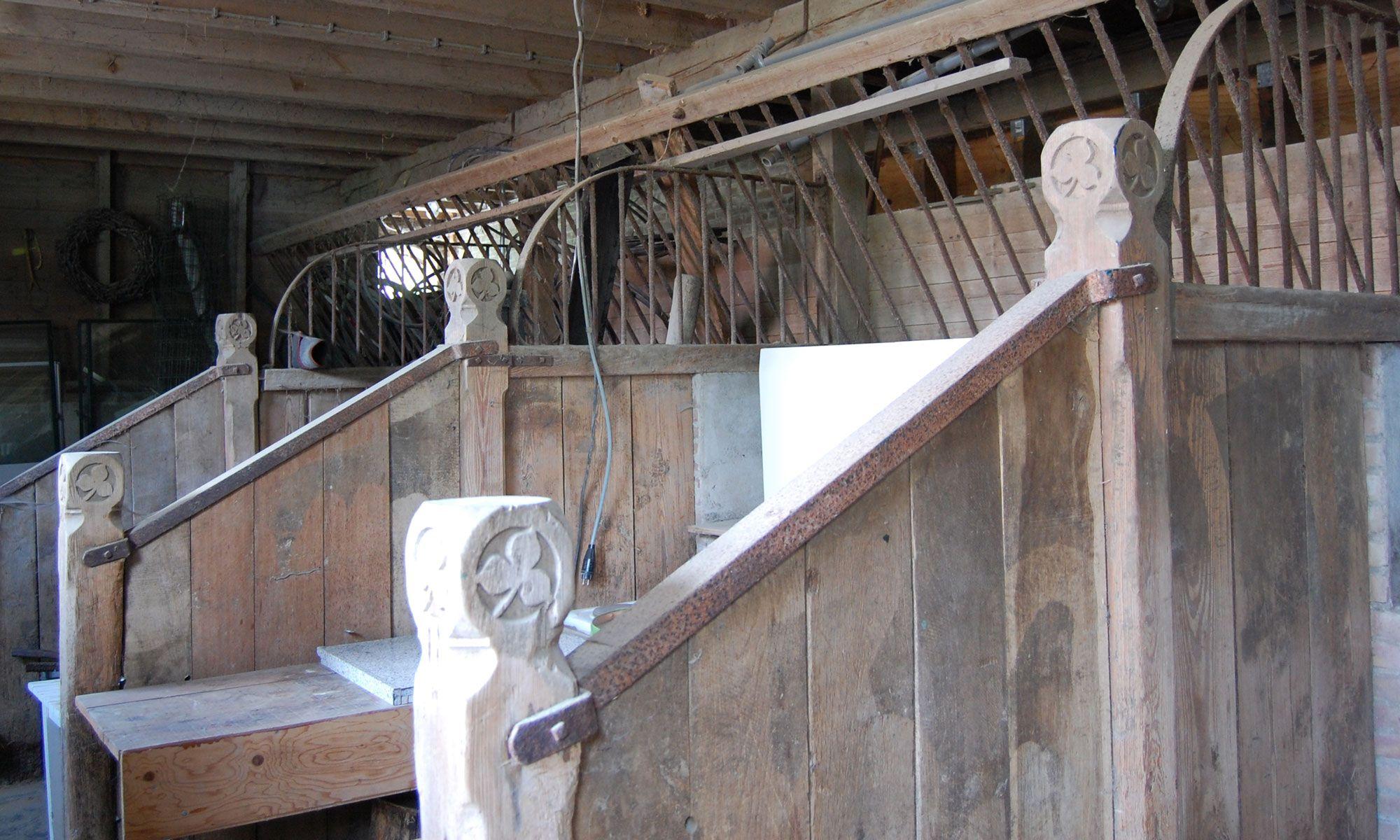 In het interieur van de landbouwschuur bevinden zich fraaie, houten details. (Beeldbank SCEZ)