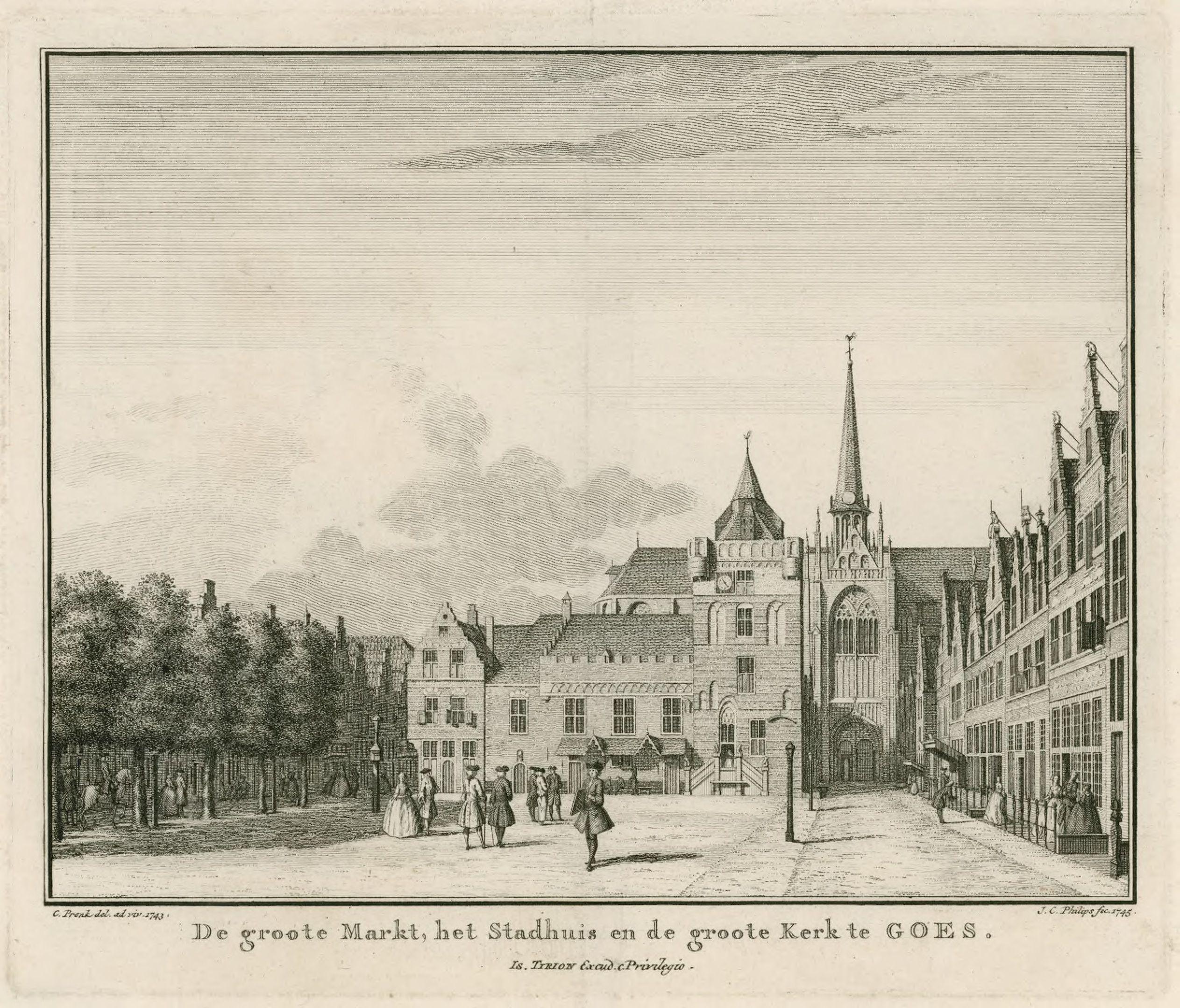 De Grote Markt met het Stadhuis in Goes. In het Stadhuis was de Weeskamer gevestigd. Ets door Jan Caspar Philips naar een tekening van Cornelis Pronk, 1745. (Rijksmuseum)