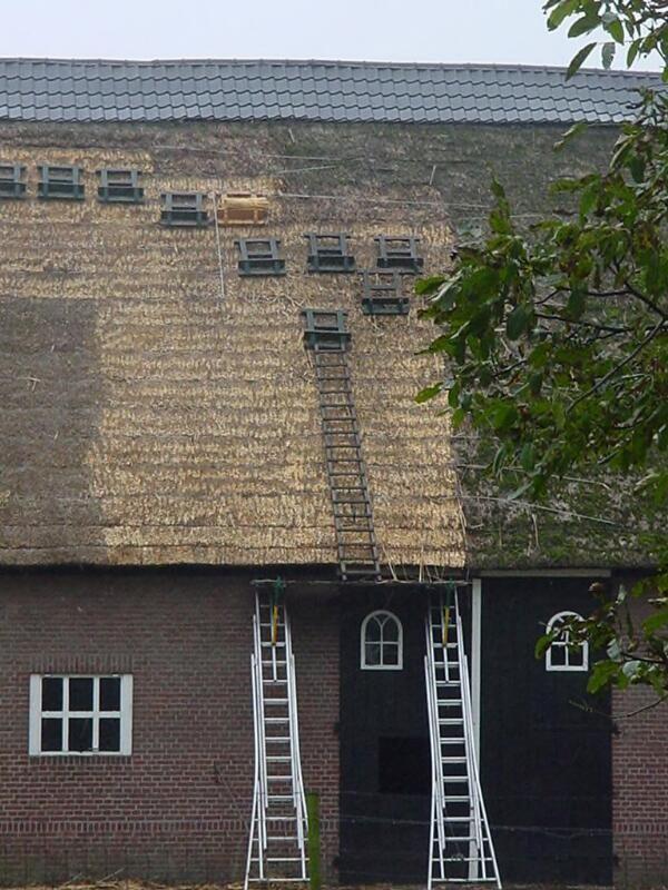 Met moderne middelen een nieuw dak voor 't Hof van Tilburg bij Driewegen, 2004. (ZB, Beeldbank Zeeland, foto J. Francke)