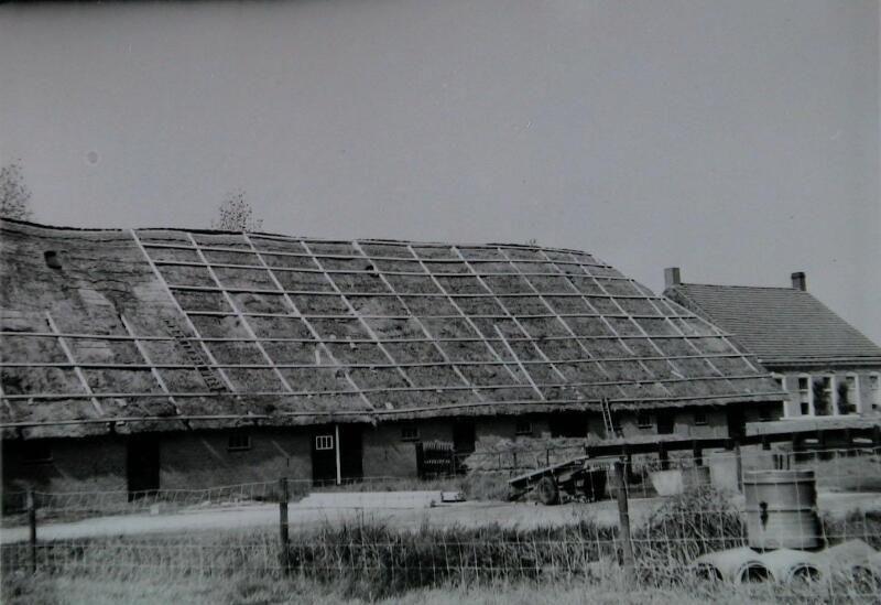 Herstel rieten dak van een boerderij bij 's-Heerenhoek in 1974. (ZB, Beeldbank Zeeland, collectie Landbouwcentrum)