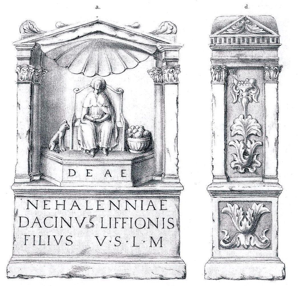 Tekening van een van de Domburgse altaren.