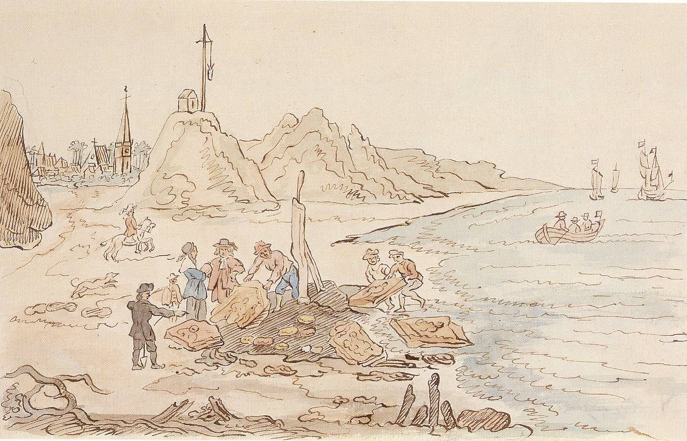 Nehalennia-altaren ontdekt op het Domburgse strand. Tekening van A.C. Bonn uit 1805 naar een schets van Hendrik van Schuylenburgh, 1647 (Zeeuws Archief).
