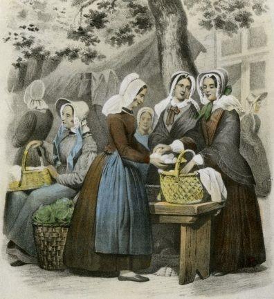 Vrouwen op Schouwen-Duiveland op de markt. Tekening uit Nederlandsche Kleederdragten door Valentijn Bing en Braet von Ueberfeldt, 1850/1857. (Beeldbank Gemeentearchief Schouwen-Duiveland)