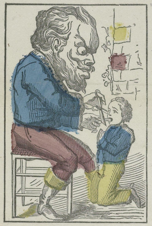 Volksprent met afbeelding van een 'tongesnaier', die een leugenaar de tong afsnijdt. (Collectie Rijksmuseum)
