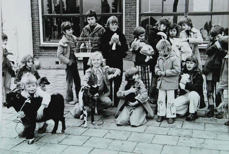 Dierendag op een school in Oosterland omstreeks 1978. (ZB, Beeldbank Zeeland)