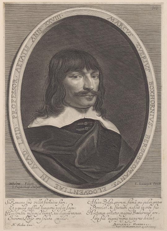 De langharige Marcus Boxhorn op een gravure uit de achttiende eeuw.