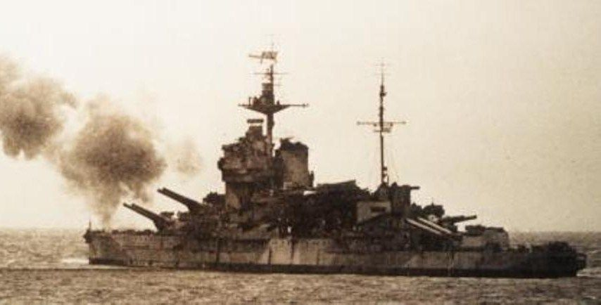 Het slagschip Warspite. (Particuliere collectie)