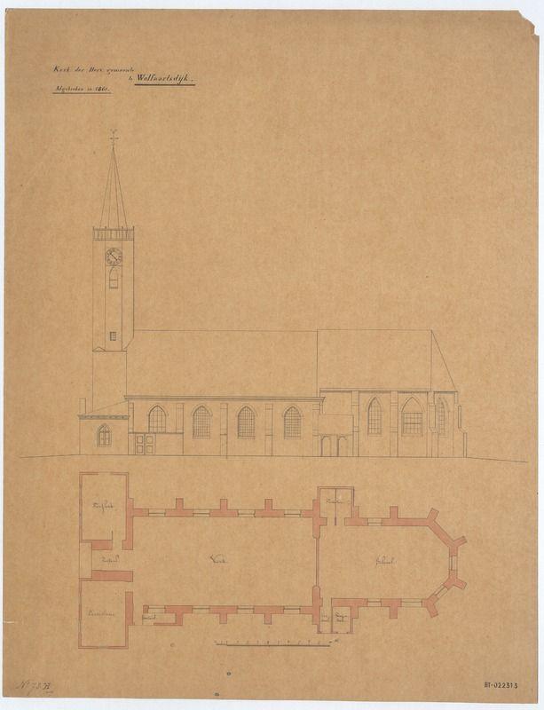 Plattegrond van de in 1861 afgebroken kerk met zijaanzicht van de zuidgevel. (Beeldbank Rijksdienst voor het Cultureel Erfgoed)