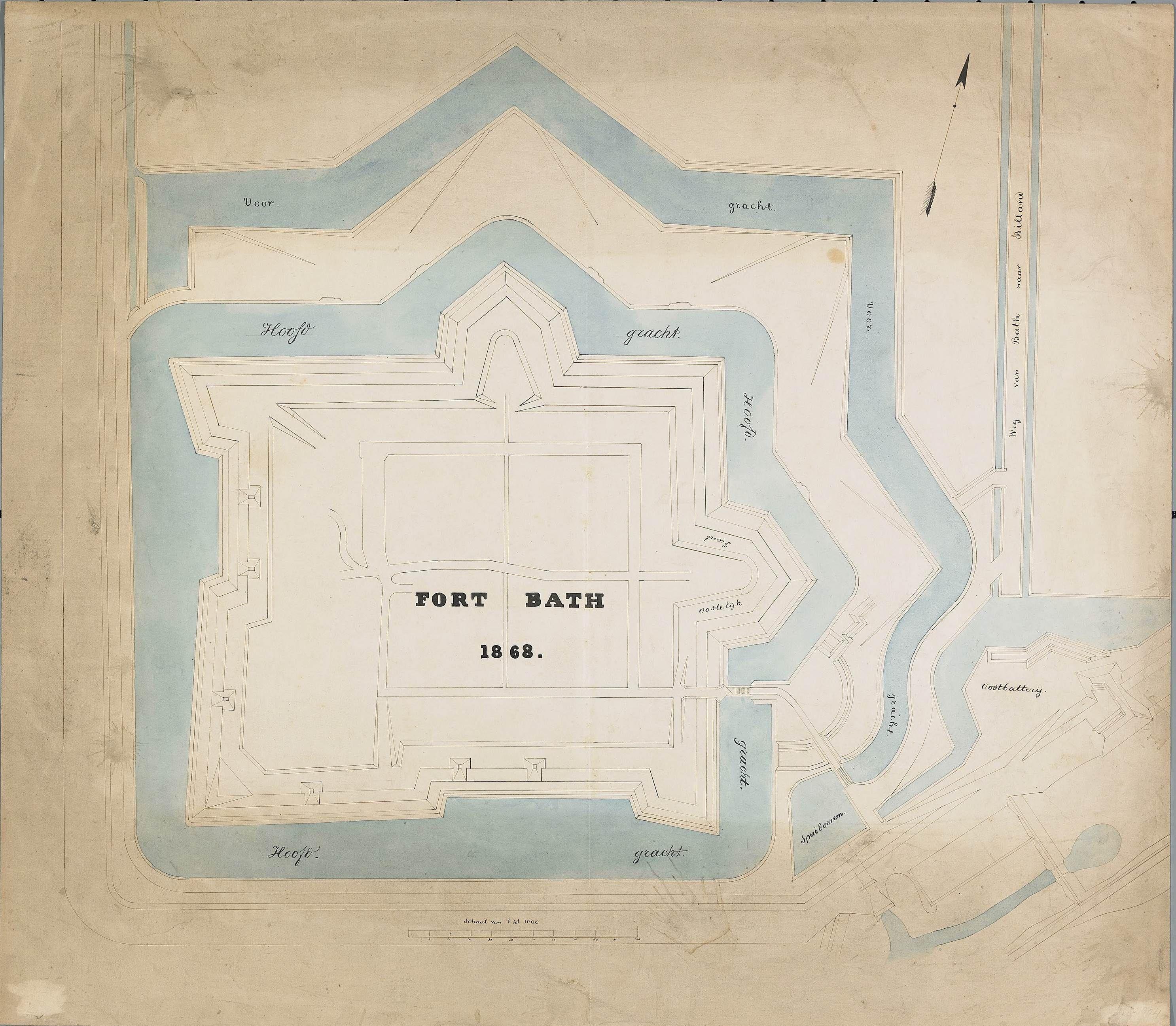Plattegrond van Fort Bath in 1868. (Zeeuws Archief, KZGW, Zelandia Illustrata II-1638)