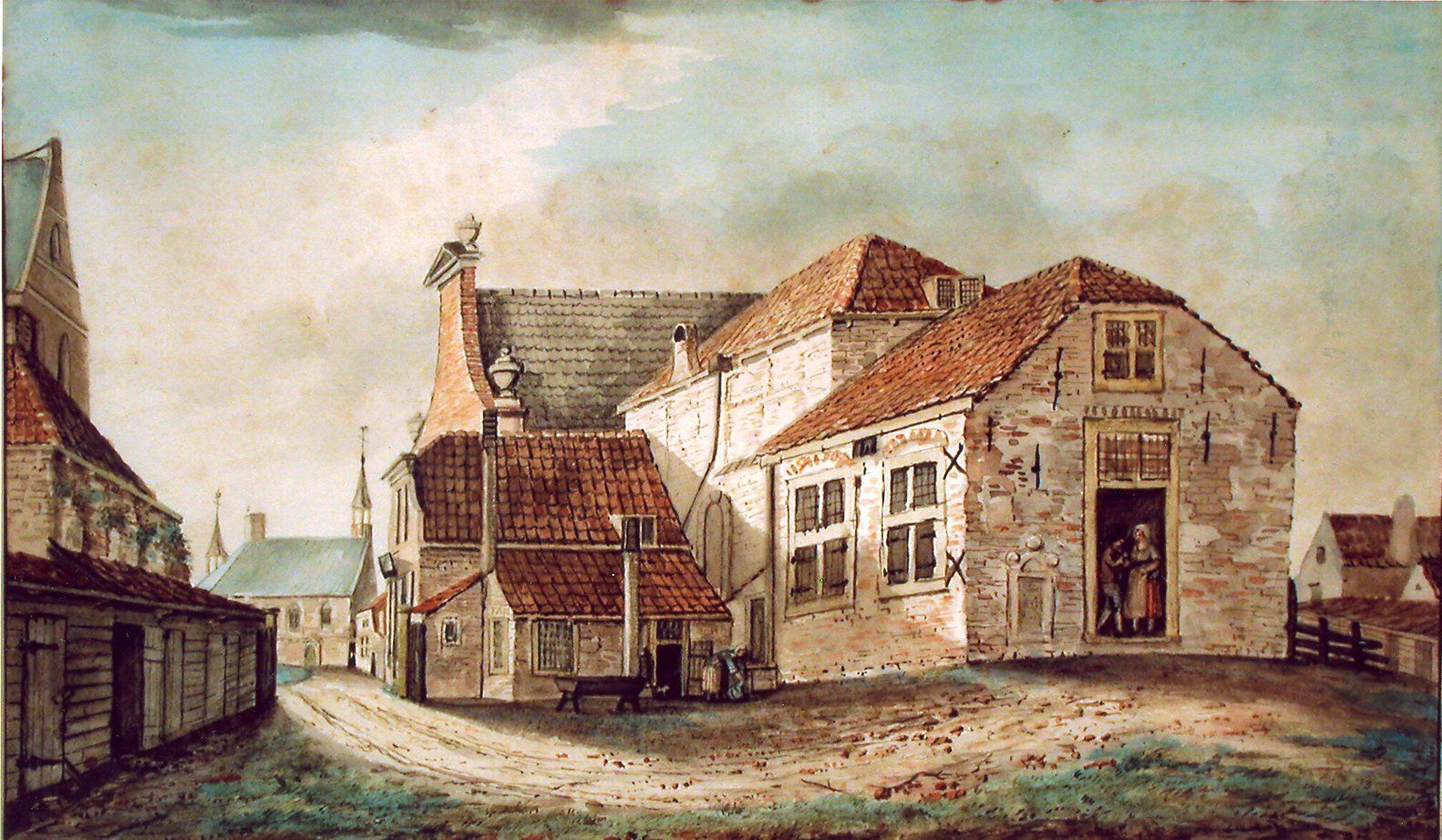 Singelstraat met Slot Oostende, 1819. Aquarel door A. Brandt. (Collectie Historisch Museum De Bevelanden)