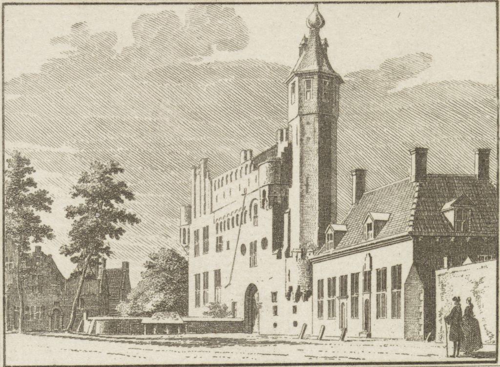 Slot Oostende midden 18de eeuw. Gravure H. Spilman naar tekening C. Pronk, 1754. (Rijksmuseum)