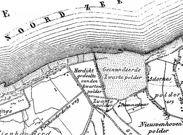 Kaart Verdronken Zwarte Polder. (Atlas Jacob Kuyper, 1865)