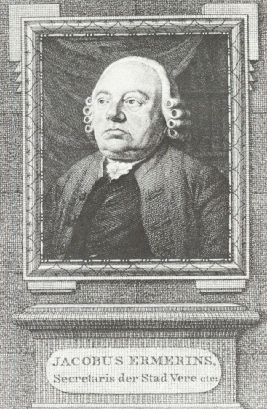 Portret van Jacobus Ermerins. Kopergravure door R. Vinkeles, 1797