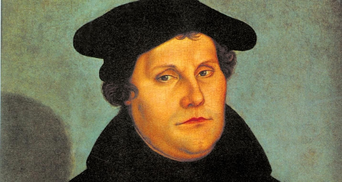 Maarten Luther. Detail uit een portret, in 1529 geschilderd door Lucas Cranach de Oude