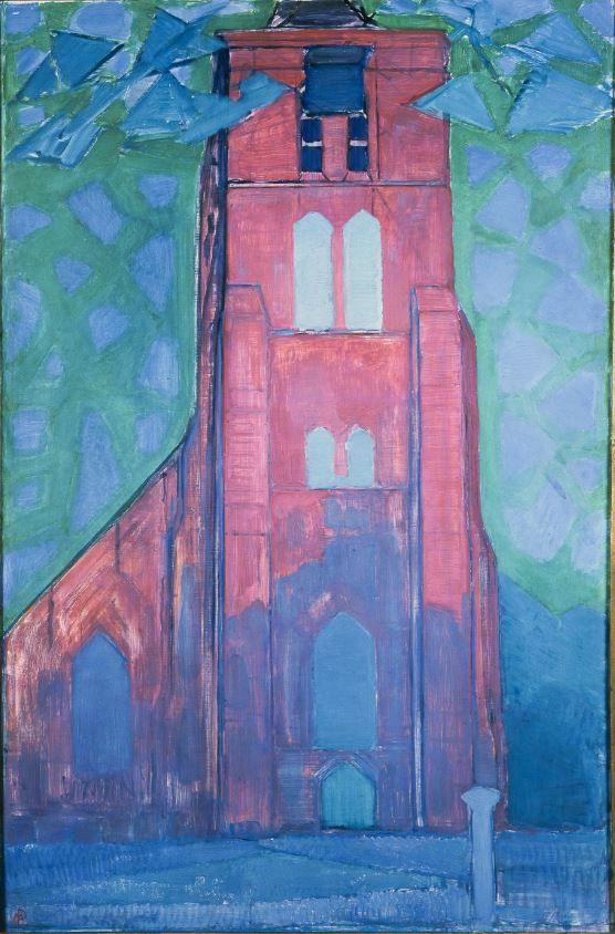Kerktoren van Domburg, Piet Mondriaan, olieverf op canvas, 1911. (Collectie: Gemeentemuseum Den Haag)