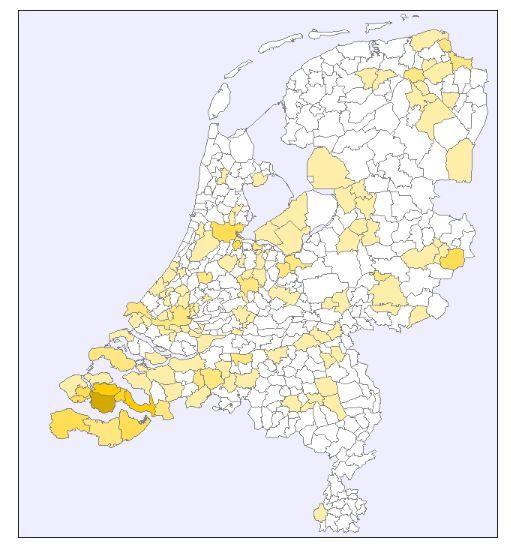 De familienaam Traas in Nederland in 2007 (familienamendatabank Meertens Instituut: www.meertens.knaw.nl/nfb). Hoe donkerder de kleur, hoe frequenter de naam voorkomt.