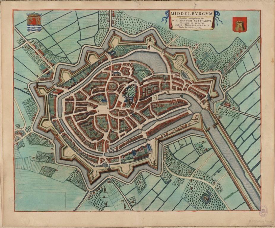 Plattegrond van Middelburg door Joan Blaeu, 1649.