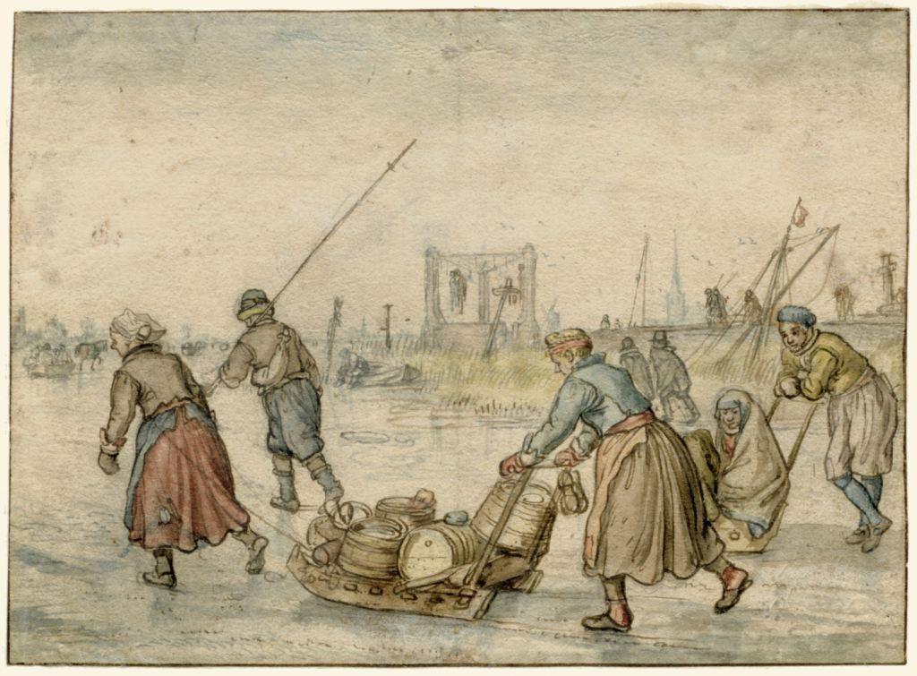 Landlieden met sleden op het ijs. Hendrick Avercamp, 17de eeuw. (Collectie Rijksmuseum)