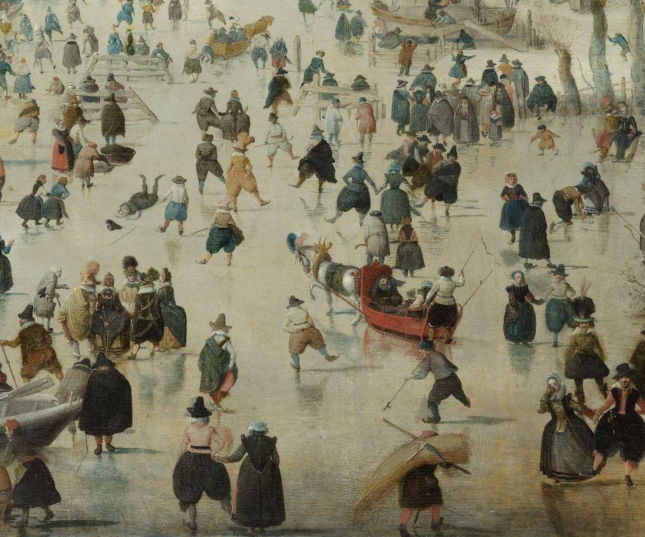 Winterlandschap met schaatsers. Detail uit het schilderij door Hendrick Avercamp, 1608. (Collectie Rijksmuseum)