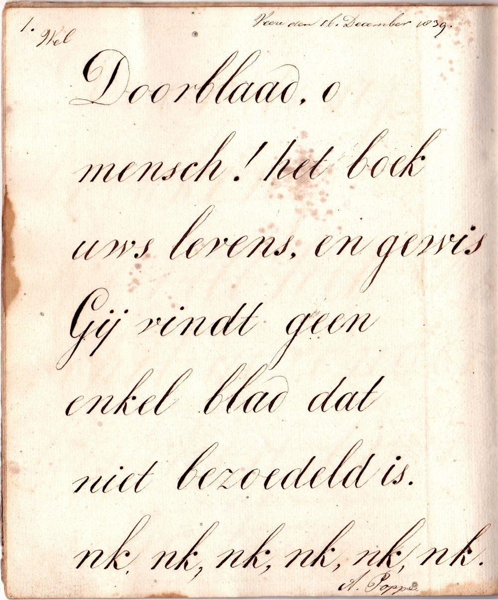 Een bladzijde uit het schoolschrift van Adriaan Poppe. (Particuliere collectie)