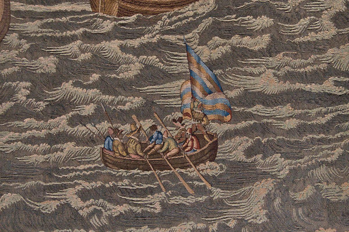 Geuzen bij Lillo, fragment van het wandtapijt De slag voor Lillo; door Hendrick de Maecht. Zeeuws Museum, Middelburg.