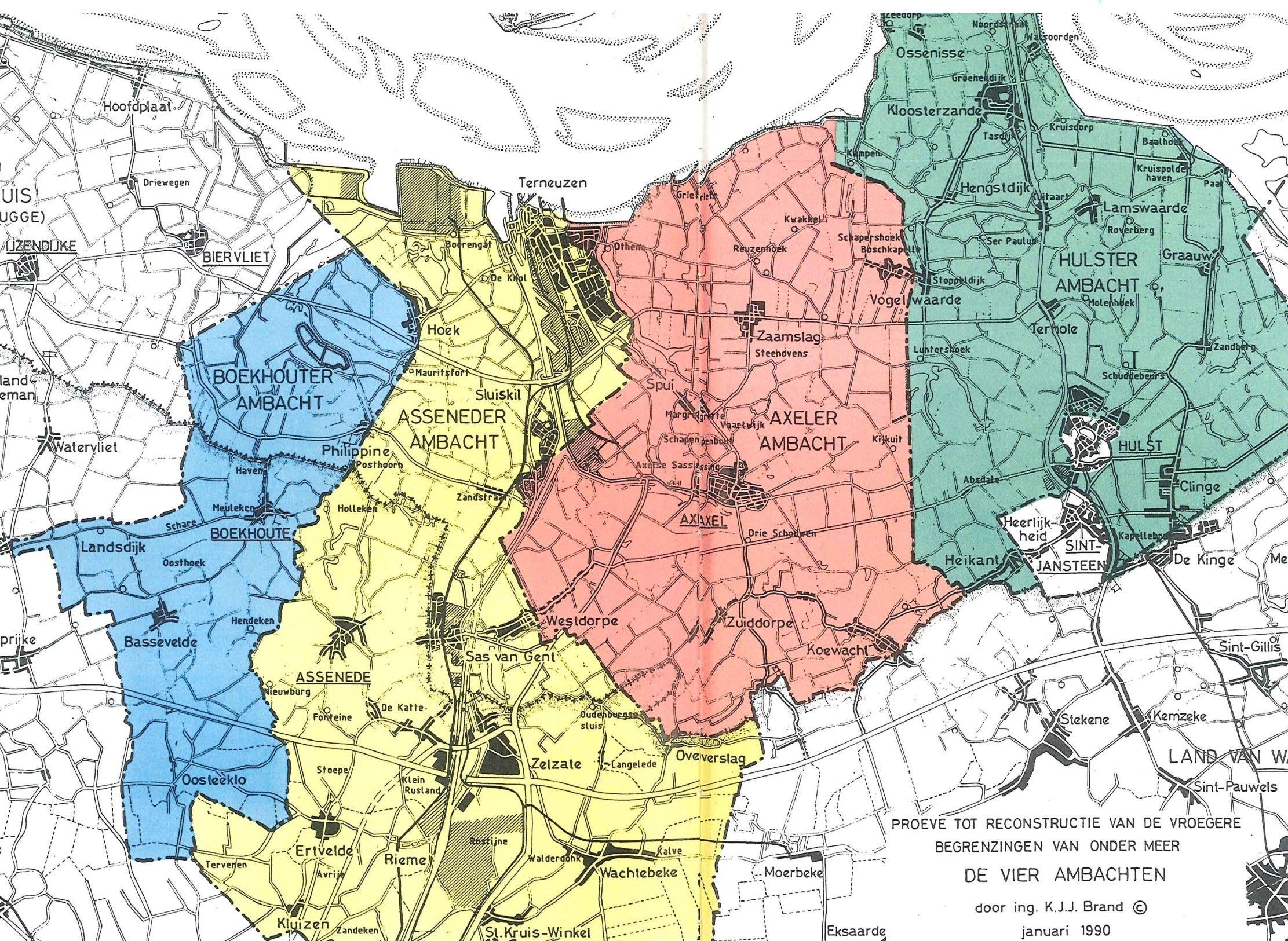 Kaart van de Vier Ambachten door K.J.J. Brand, 1990.