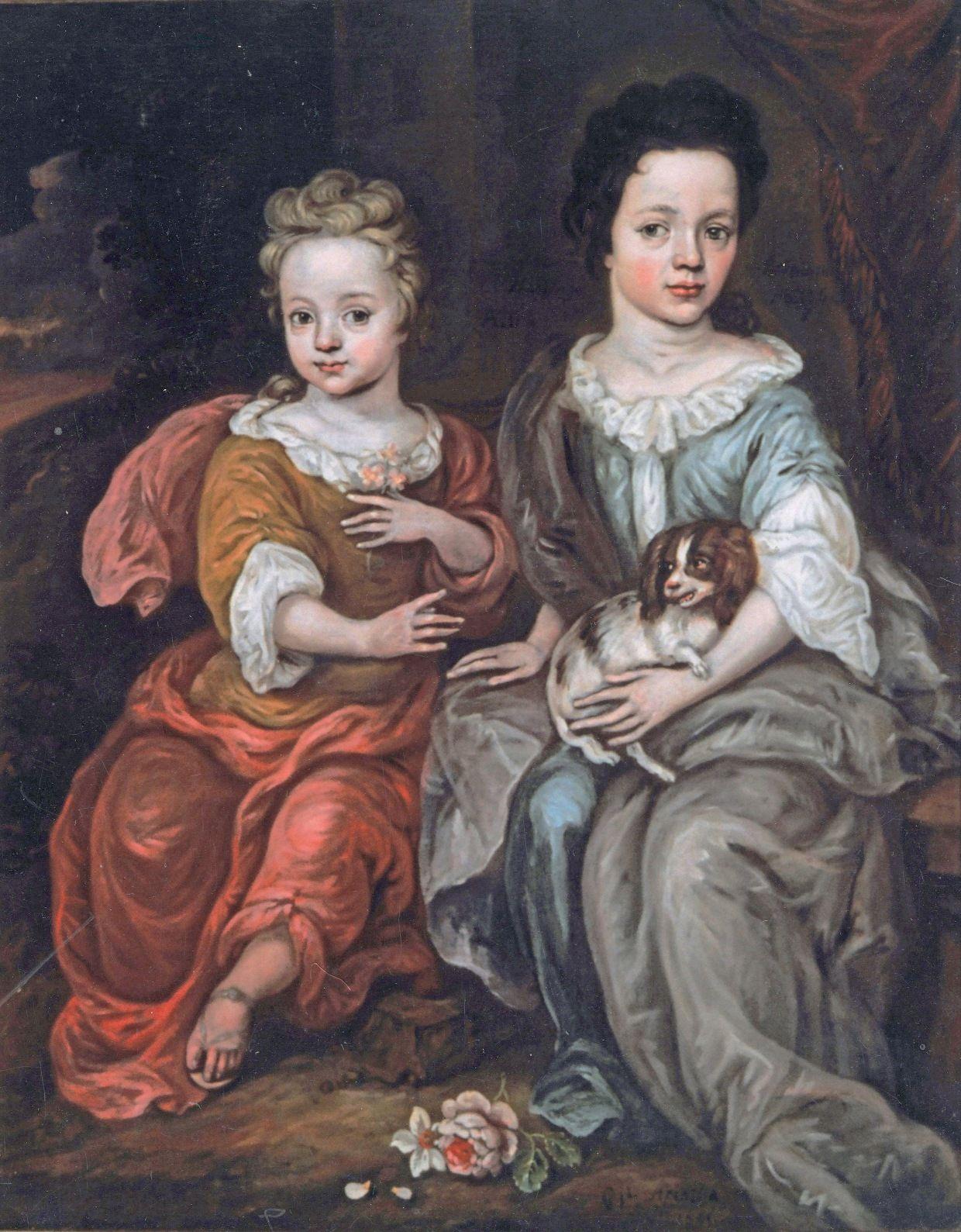 PORTRET VAN ANNA EN ELISABETH, ZUSJES VAN WILLEM TIBERIUS HATTINGA, GESCHILDERD DOOR W. ARENTSEN IN 1701. (MUSEUM HULST)