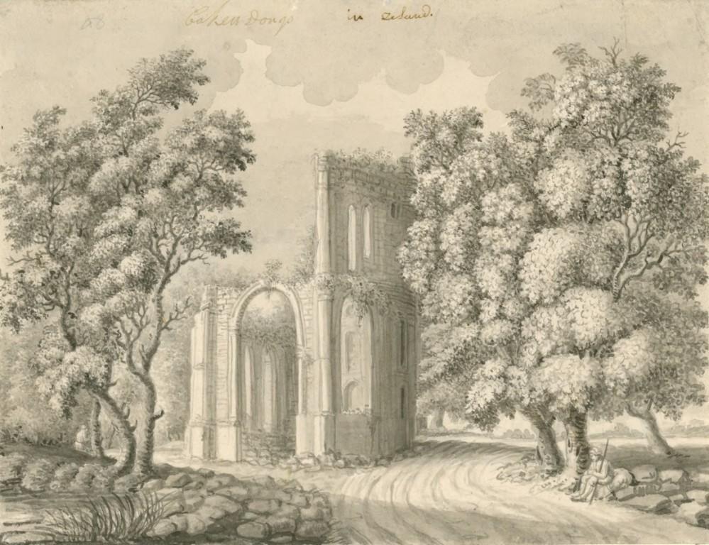 Tekening van de overblijfselen van de kerk van Bakendorp, 18de eeuw. (Zeeuws Archief, coll. Zeeuws Genootschap, Zelandia Illustrata)
