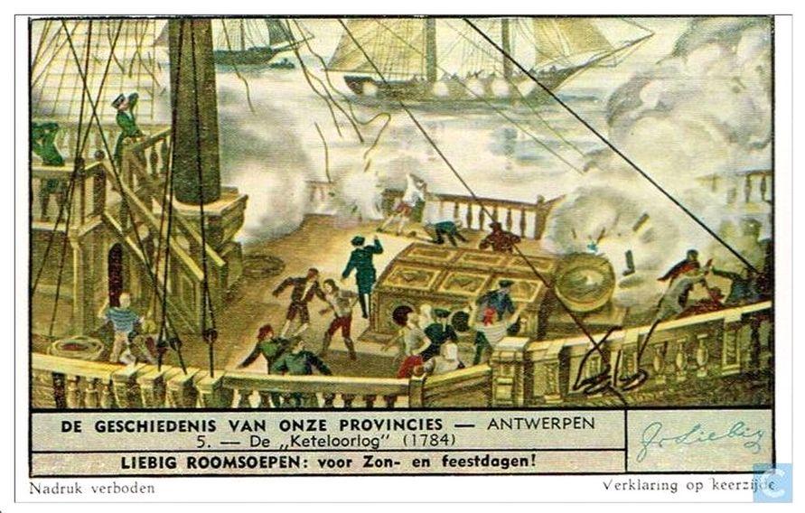 De Keteloorlog op een verzamelkaart uit een serie over de geschiedenis van Antwerpen (1951).