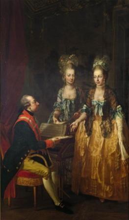 Keizer Jozef II van Oostenrijk met zijn zusters Maria Anna en Maria Elisabeth. Schilderij door Joseph Haunzinger.