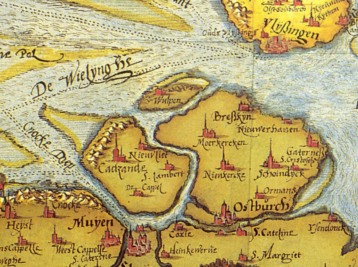 Wulpen op de Zeelandkaart van Christiaan Sgrooten (1573), gebaseerd op die van Van Deventer van omstreeks 1550.