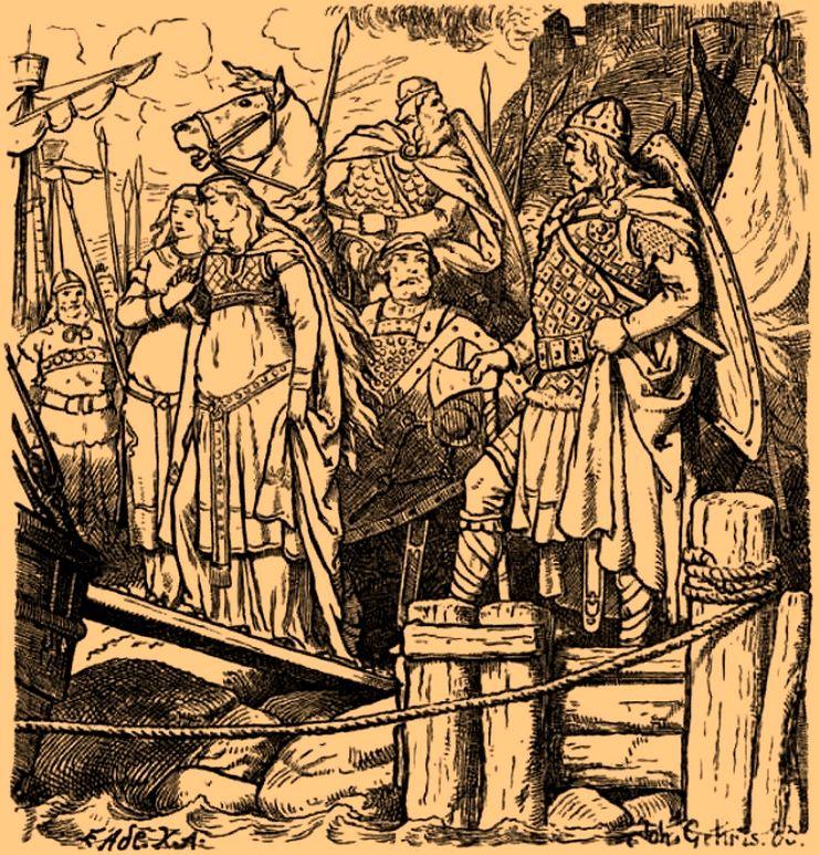 Kudrun wordt weggevoerd; illustratie van Johannes Gehrts (1885).