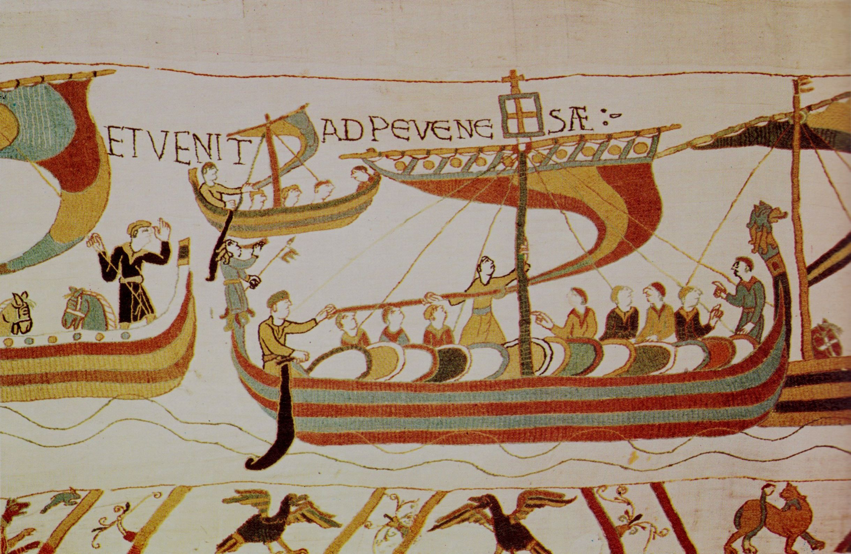 Langschip van Willem de Veroveraar, op weg naar Engeland (Tapijt van Bayeux).
