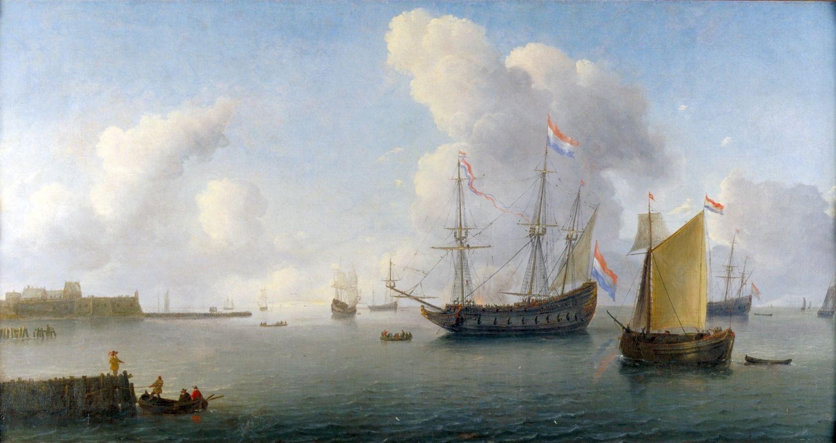 Zicht op de rede van Rammekens. Olieverfschilderij van Willem van Diest, 1657. (Maritiem Museum, Rotterdam)