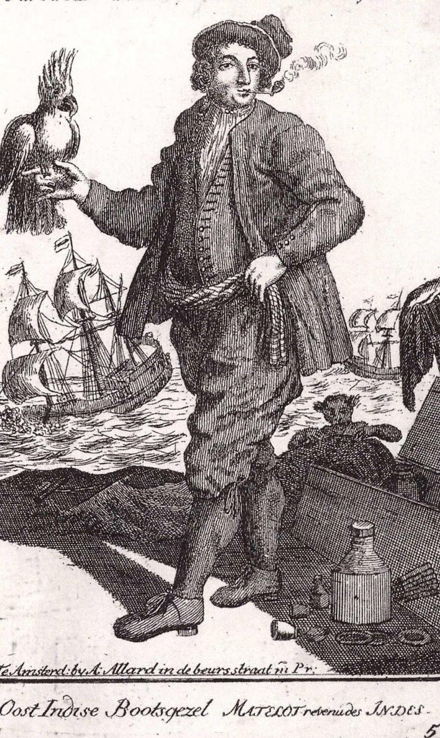 Stevig rokende 'Oost indise Bootsgezel', achttiende eeuw.