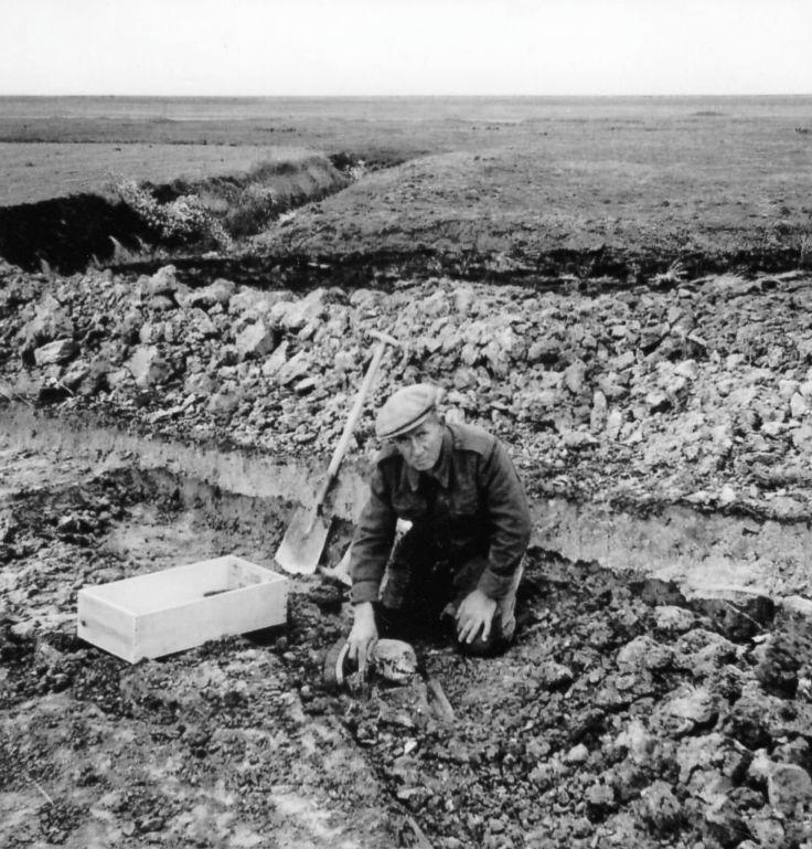 Klaaskinderkerke - opgegraven skeletmateriaal 1959 door oa J.W. Leijdekkers -