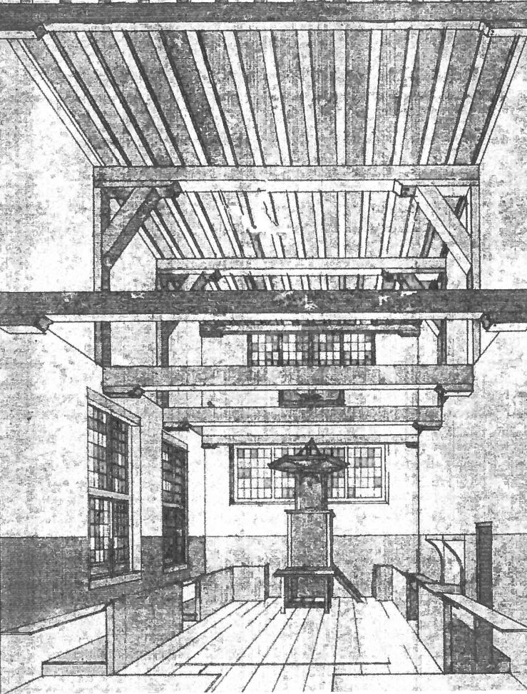 Tekening van de lutherse kerk bij de ingebruikname in 1713, door Frans Rupingh. (bron: Bulletin SOZK, september 1987, pagina 14)