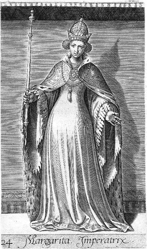 Margaretha van Henegouwen bestreed haar zoon Willem V; afbeelding uit 1578.
