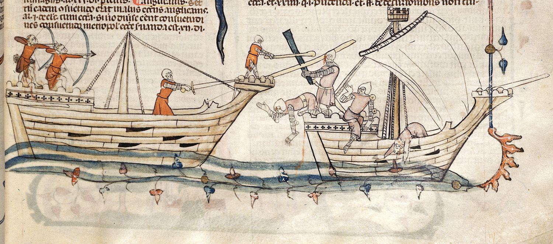 Zeeslag met koggeachtige schepen, ca. 1275-1300 (British Library, Royal 10 E IV, f. 19).