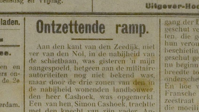 De Zierikzeesche Nieuwsbode bracht het nieuws in haar editie van 3 maart 1915.