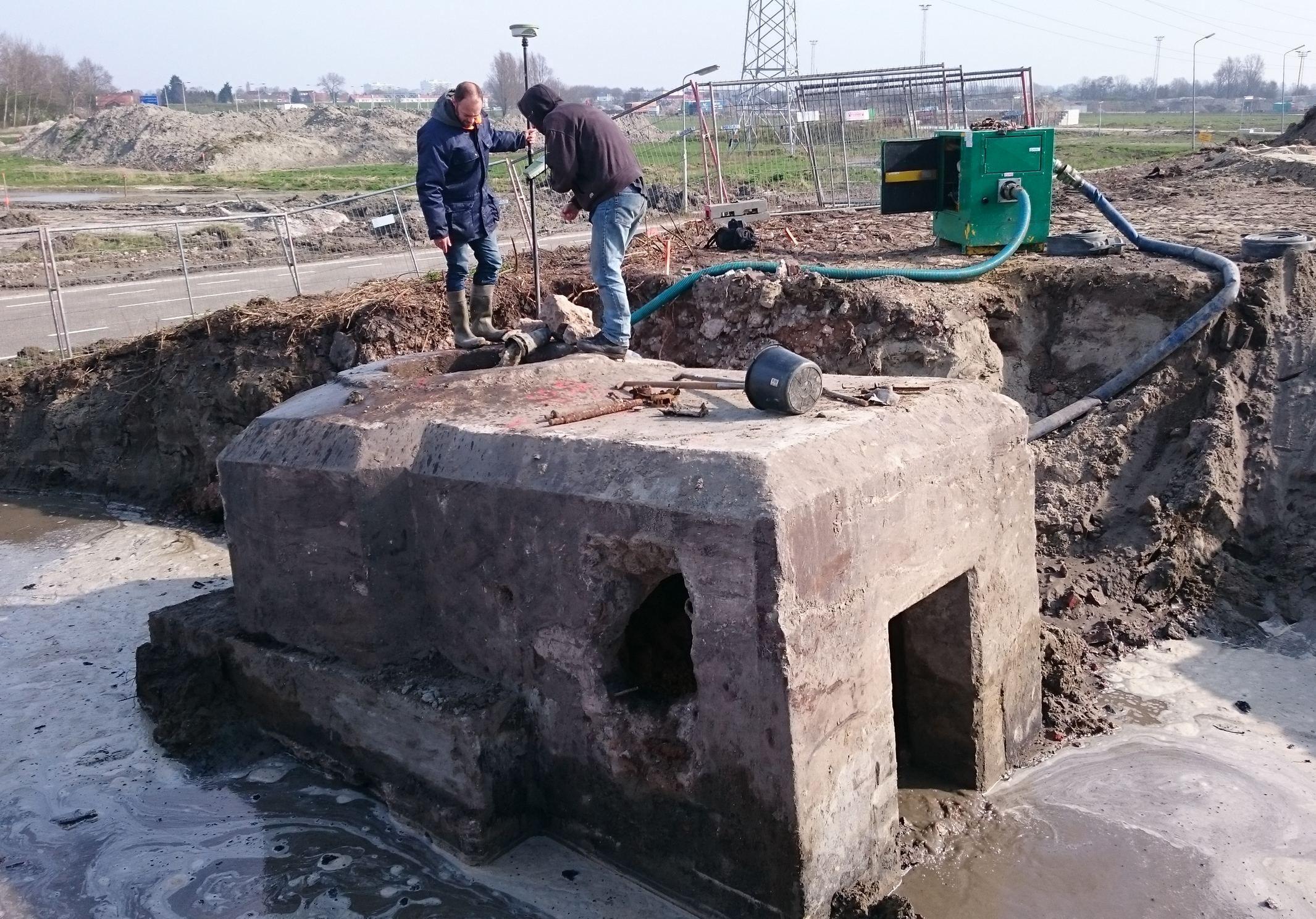 Het Vlissingse tobruk-bunkertje (foto Walcherse Archeologische Dienst).