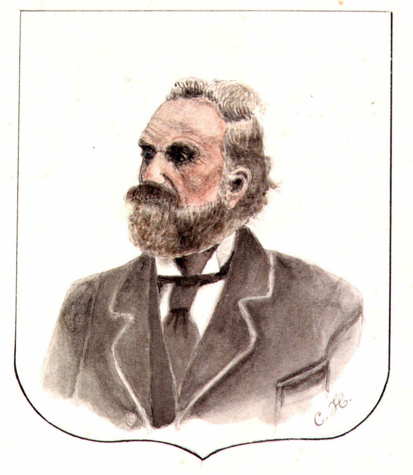 Portret van Adriaan Hollestelle, getekend door zijn zoon Cornelis. (Zeeuws Archief/Zeeuws Genootschap, ZI-IV-0452)
