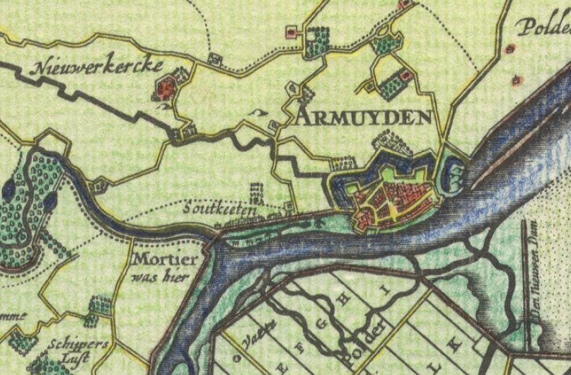 Het voormalige Nieuwerkerke op de Visscher-Romankaart (1656).