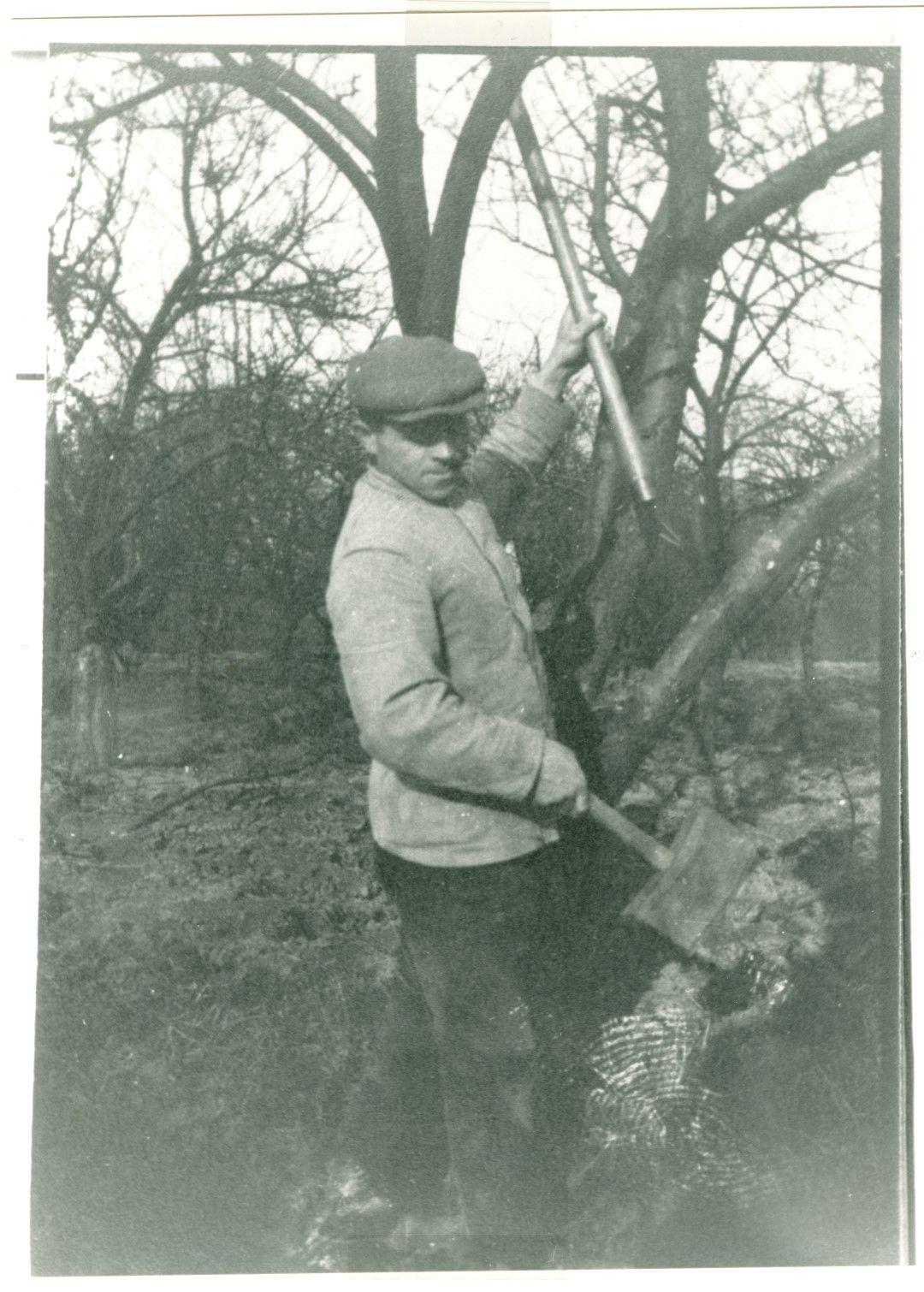 Arbeider gebruikt snoeibeitel met korte sleg.