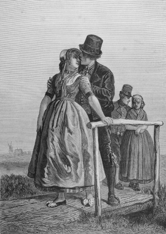 Heulen was vroeger in heel Zeeland een gebruik waarbij de jongens de meisjes zoenden als ze bij het spelerijden over een heul (een gemetselde brug over een watergang of sprink) reden. Prent Adolf Dillens. (ZB, Beeldbank Zeeland).