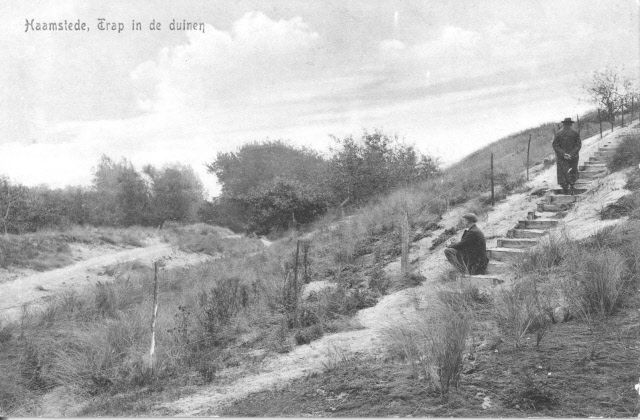 Duintrap aan de Vertonsweg, Haamstede 1910. Prentbriefkaart. (Beeldbank Gemeentearchief Schouwen-Duiveland)