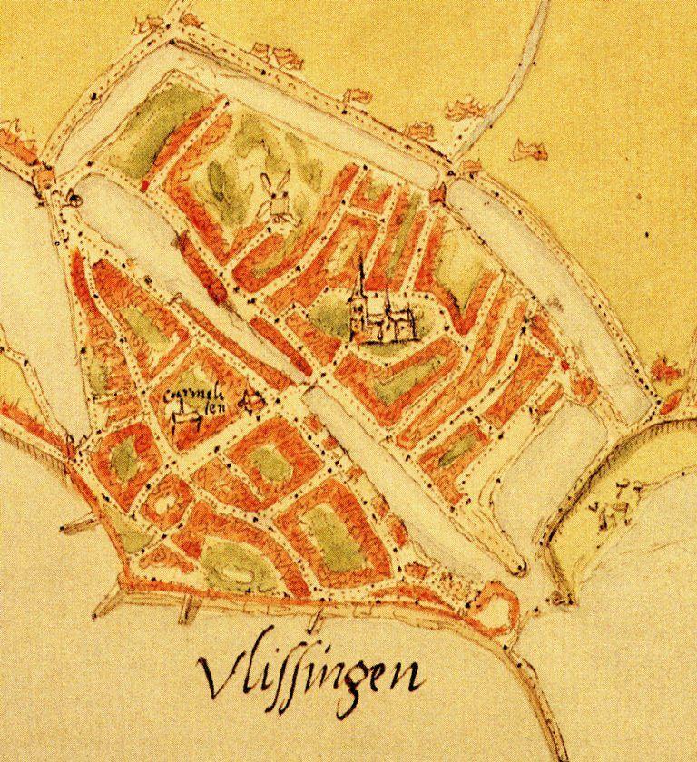 Vlissingse plattegrond (Van Deventer, circa 1550) met Koopmans- en Achterhaven in volle glorie.