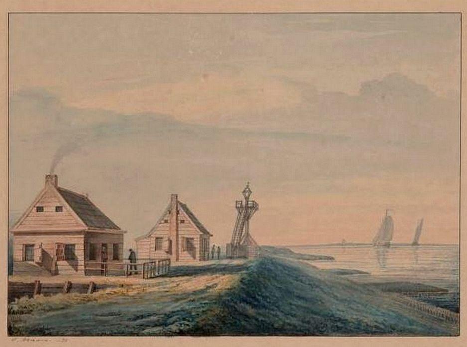 Naerebouts woning met lichtbaak aan de Oost-Bevelandpolder. (G. Braam, 1873; GAG/HTA)