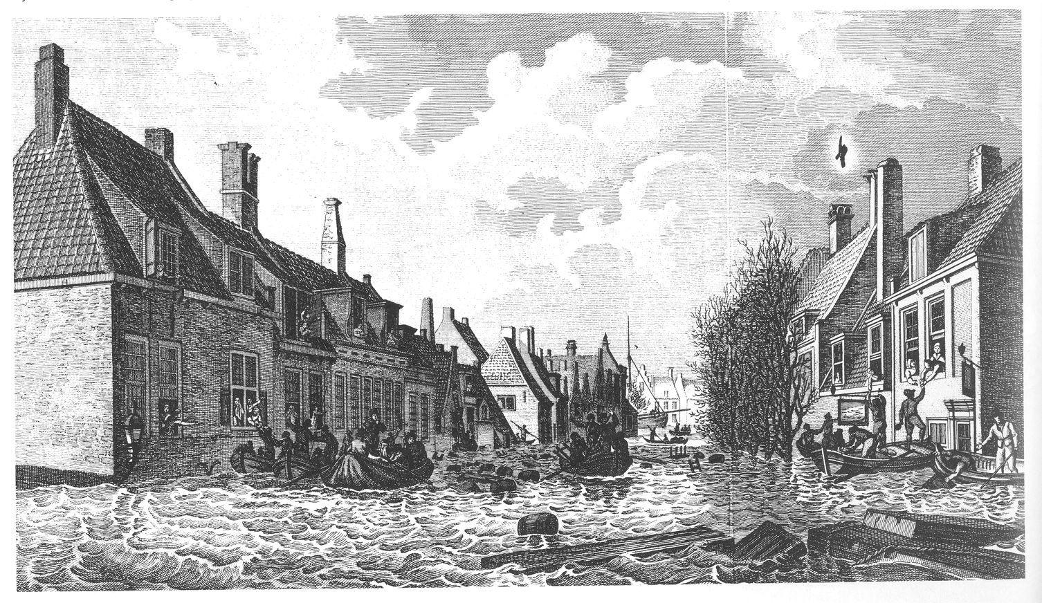 De Vlissingse Palingstraat na de ramp van 1808 (J.H. Koekoek).