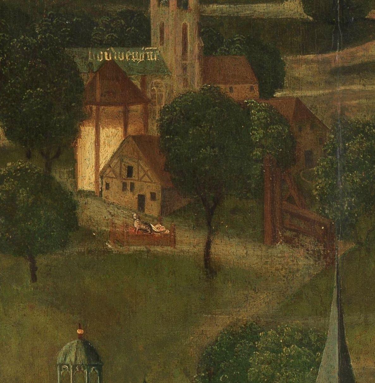 Het wiegje op het linkerpaneel van de Meester van Rhenen.